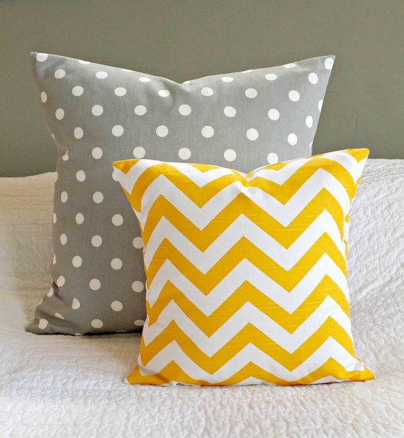 LOVE!!!!!  Yellow and grey nursery colors!!!!  Yellow Chevron Pillow Cover  Nursery/Kids Sized by nest2impress,