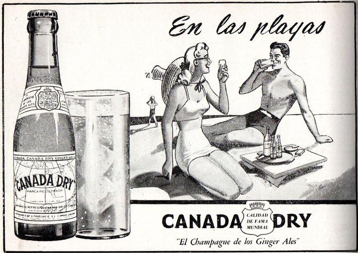 """En las playas Canada Dry. """"El Champagne de los Ginger Ales"""". Publicado en Guía del Veraneante 1947. Ferrocarriles del Estado."""