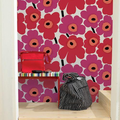 marimekko-unikko-red-wallpaper
