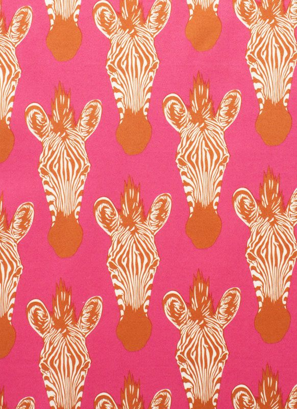 pink and orange and zebra.  if this is wall paper, i think it would be super fun in a half bath.