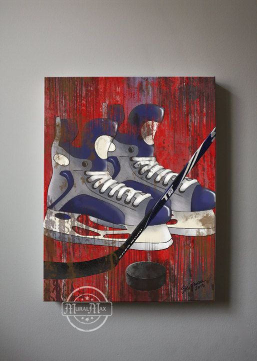 Vintage Hockey Sports Canvas Art  Art for Children by MuralMAX, $51.00 @Michelle Flynn DiFilippo pretty cool! And all the colors of kennys room....