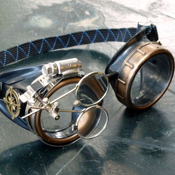 JUST ONE OF A KIND , CUSTOM MADE ! Attention ! Going out ? Convention or mission ? Looking for very special accessory ? We can help ! We present Steampunk Apocalyptic Cyber Goggles- Time Travel Crazy Scientists Oculo-Vision Tool from our collection of mad scientist treasures. Our goggles are excellent for any starship captain or officer, troop ,men, women , children, all who plan to wear eye protection against any bomb blast attack, war , or apocalypse. Adjustable Elastic Head Part, mad...