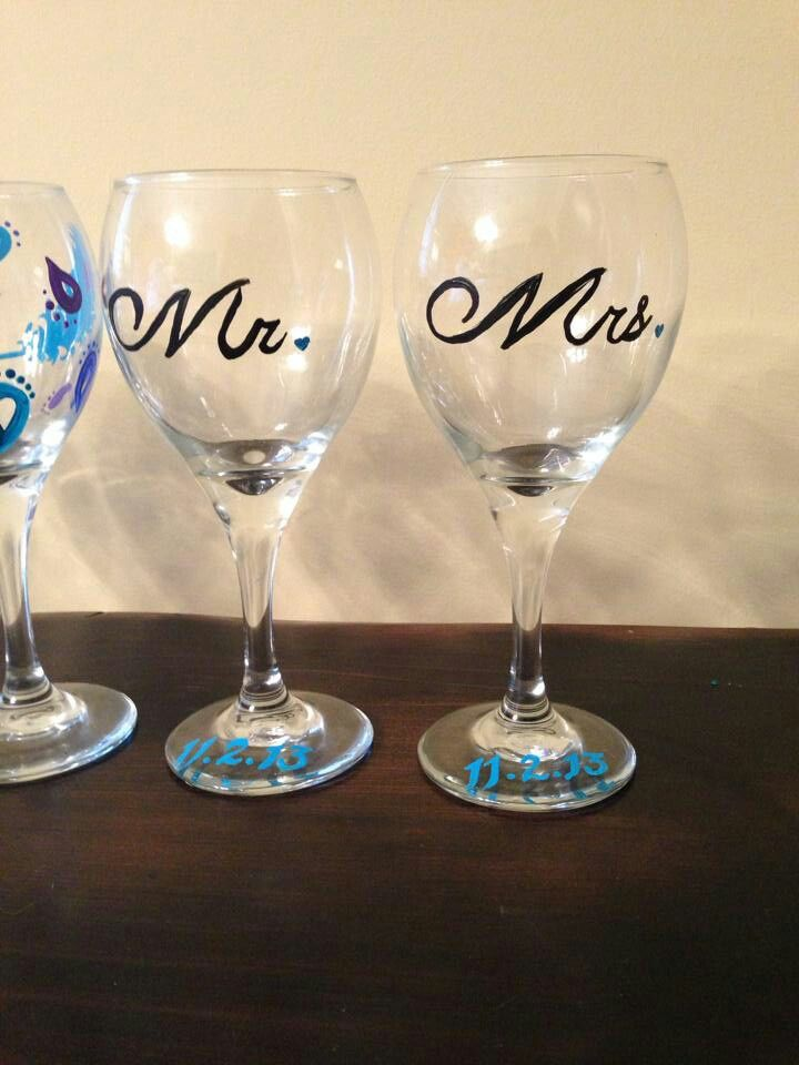 Our hand painted wine glasses