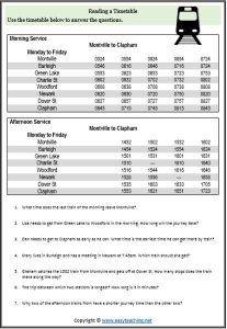 timetable worksheet train maths worksheets ks2 maths math activities. Black Bedroom Furniture Sets. Home Design Ideas