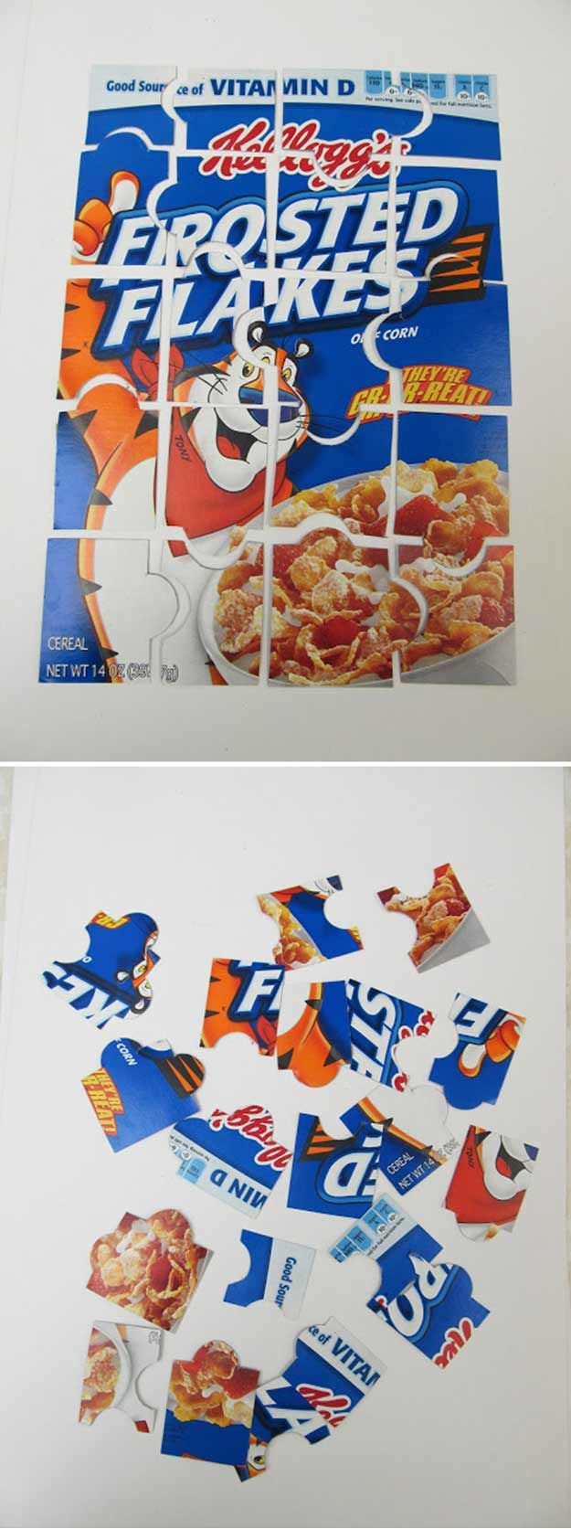 Cool DIY Cereal Box Puzzle Craft | http://diyready.com/28-things-you-can-make-from-cereal-boxes/