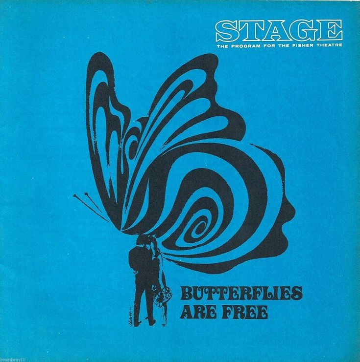 """Theatre Programme from the Premiere Detroit Production of Leonard Gershe's comedy """"Butterflies Are Free,"""" which performed from November 30, 1970 thru January 2, 1971 at the Fisher Theatre. David Huffman and Gloria Swanson starred in the production."""