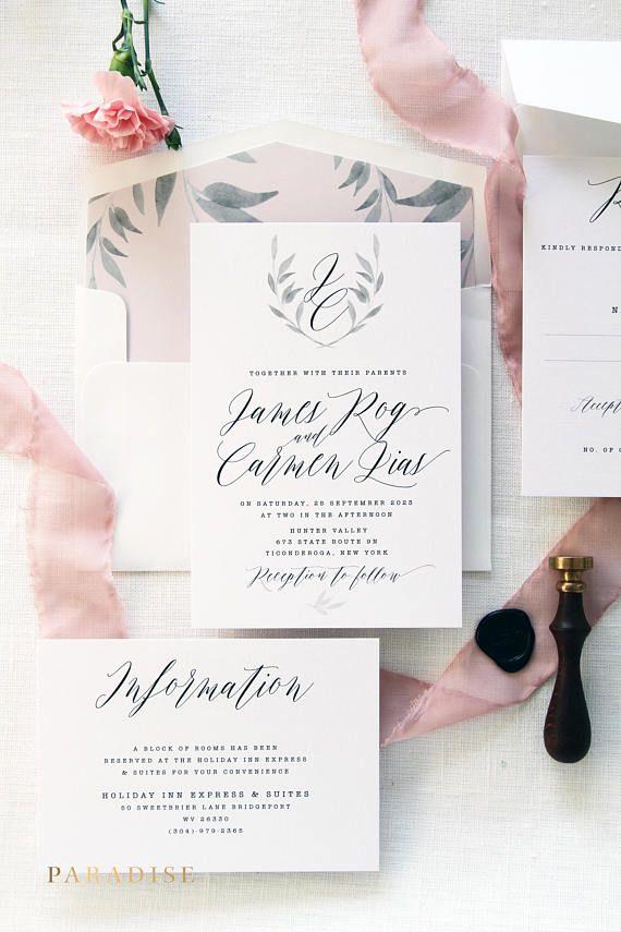 print yourself wedding invitations kit%0A Carmen Soft Pink Calligraphy Wedding Invitation Sets  Printable Invitations  or Printed Wedding Invitation Sets  Wreath Monogram