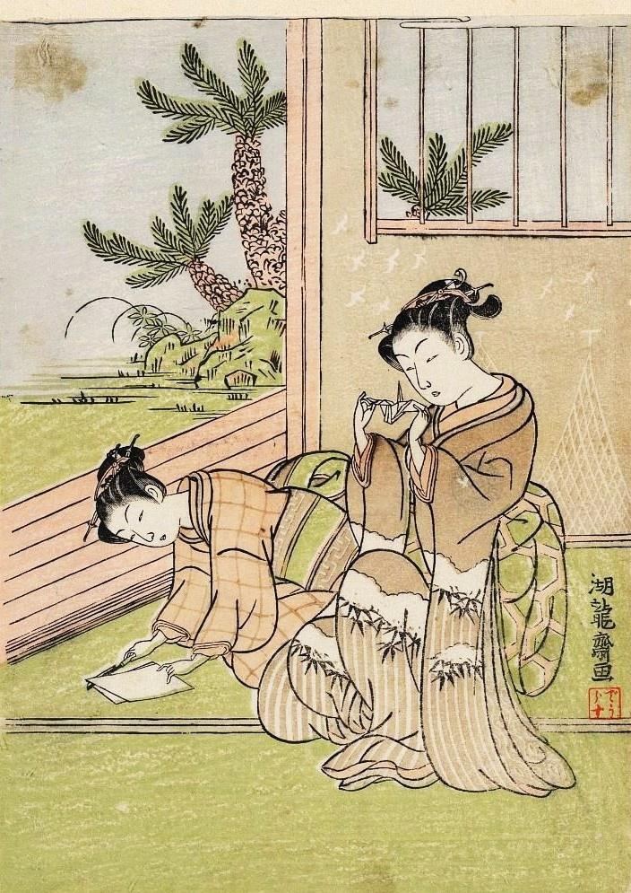 taosozugalactor:    Isoda Koryusai 1772Orizuru o tsukuru shōjo    折り鶴をつくる少女 磯田湖龍斎 1772年