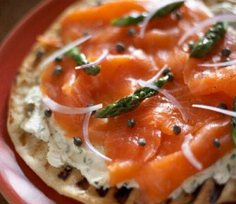 Grilled Pizza with Herbed Mascarpone, Smoked Salmon and Asparagus
