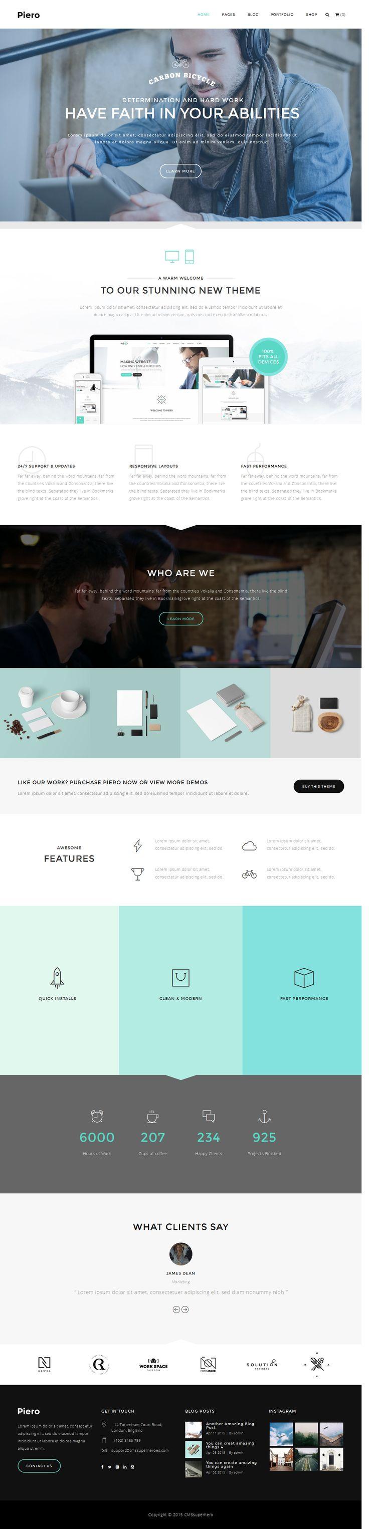PIERO is a stunning and professional Corporate/Freelance/Agency/Creative wordpress theme #webdesign Download: http://themeforest.net/item/piero-clean-modern-multiuse-wordpress-theme/10714925?ref=ksioks