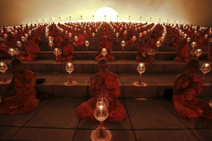 People across Thailand observe Makha Bucha Day in a series of candle-lit ceremonies led by Buddhist monks. The festival is celebrated in Thailand on the full moon of the third lunar month and commemorates the day when 1,250 monks gathered to be ordained by the Buddha.