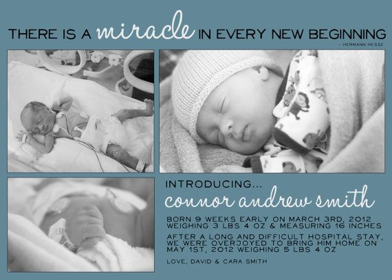 Preemie Baby Birth Announcement  CHOOSE YOUR by AdorePaperDesign, $10.00