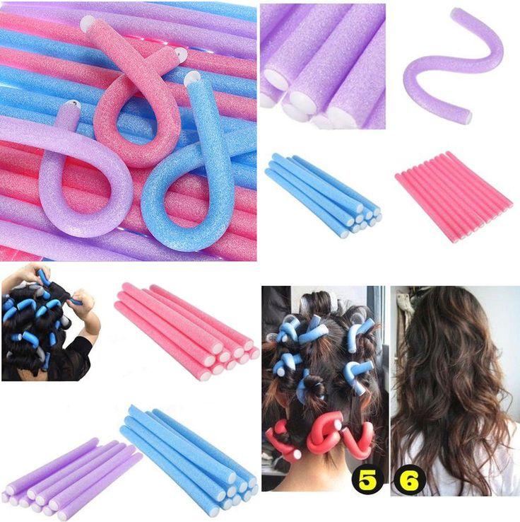 10Pcs Soft Foam Curler Makers Bendy Twist Curls Tool DIY Styling Hair Rollers XJ