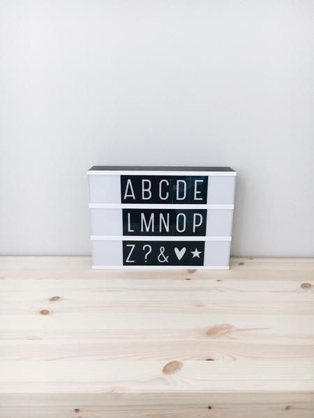 Lightbox Letter Set - Monochrome By: A Little Lovely Company  Description: Cool monochrome letter set with white letters on a black background. Mix 'n match with our other letters for an original and playful effect. With this letter set you give your lightbox so much more possibilities... Slide on! Sold@Mintedmethodshop.com