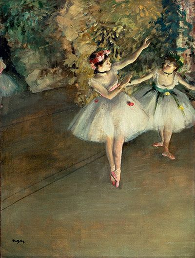 learn about Degas ~ Two Dancers on the Stage, c 1874 .. Edgar Degas