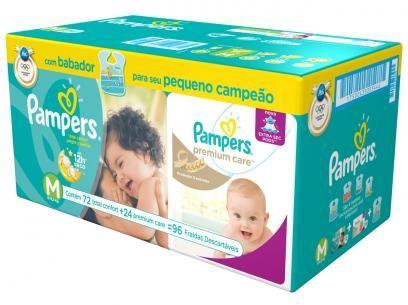 Fralda Pampers Total Confort e Premium Care M - 96 Unidades com as melhores condições você encontra no Magazine Anacandeani. Confira!
