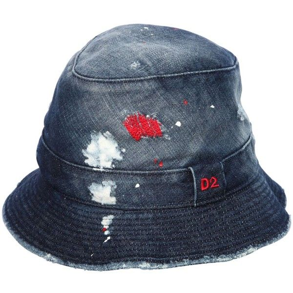 Dsquared2 Men Washed Denim Bucket Hat (640 TND) ❤ liked on Polyvore featuring men's fashion, men's accessories, men's hats, blue, mens fishing hats, mens bucket hat, mens hats and mens denim hats