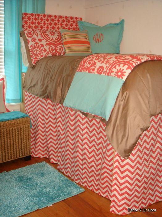Tiffany Blue And Coral Beautiful Bedding Beautiful Dorm Bedding U2013 Decor 2  Ur Door. Girl Dorm RoomsDorm ... Part 89