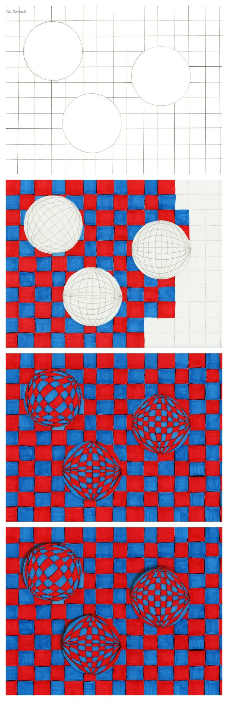 Op art uses color to create - Cool Op Art Sphere Drawings