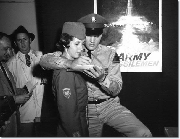 They were also using Elvis at the time for recruitment, so you also had these recruiting posters behind Elvis holding forth at the press conference which lasted approximately an hour.