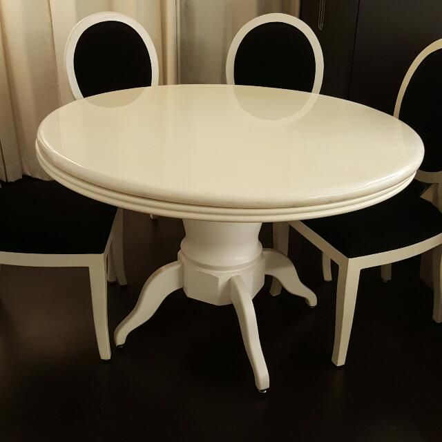 Marble Top Dining Table (EXCLUDING CHAIRS)120 Cm In Diameter80 Cm In Height.