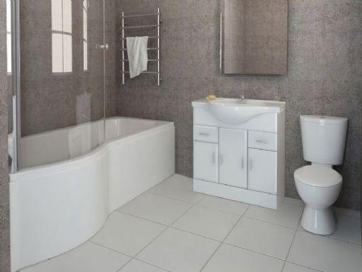 bathtub and shower units   Blanco Vanity Unit and P Shape Shower Bath Bathroom Suite   Bathroom ...