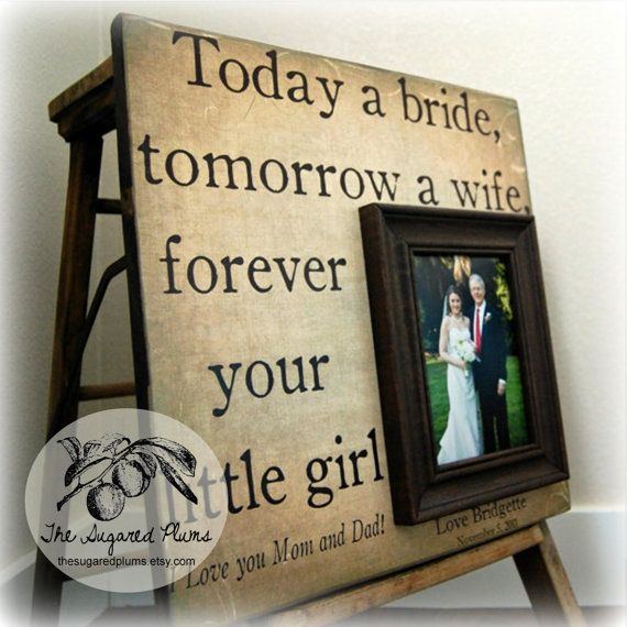 Father of the Bride Parents Thank You Gift Personalized Picture Frame 16x16 TODAY A BRIDE Dad Daddy Men Mother Parents The Sugared Plums on Etsy, $75.00