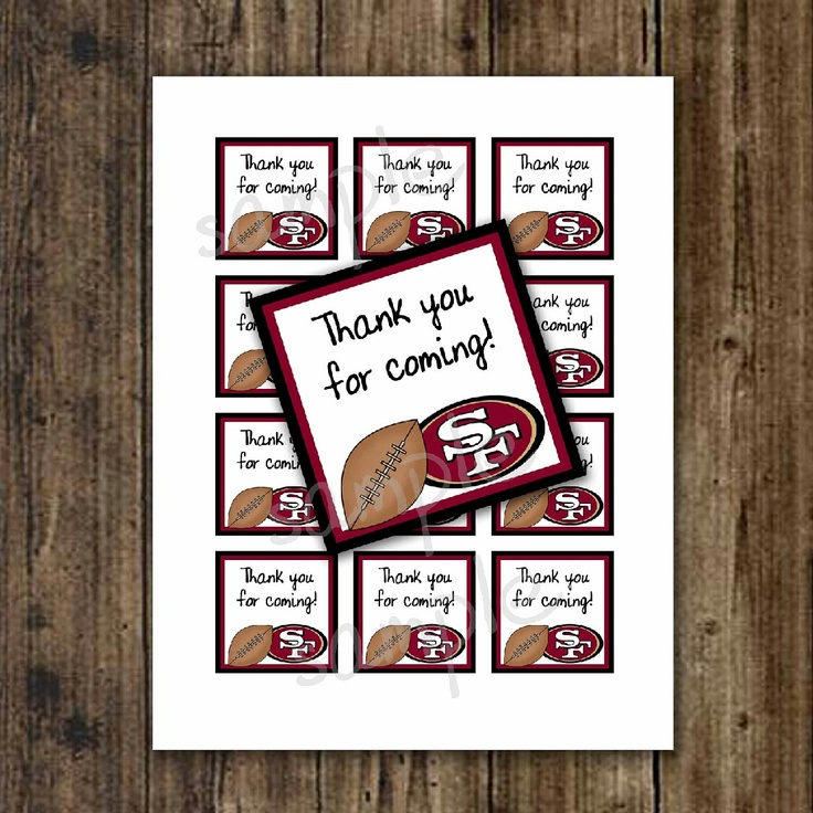 Labels for the favors sf 49ers ayden 39 s 49er baby shower for 49ers bathroom decor