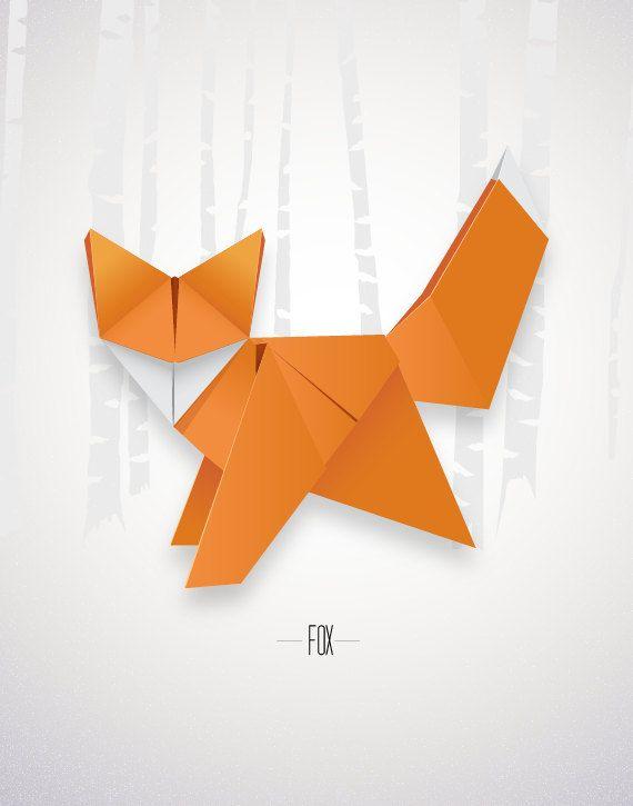 Origami Fox Print affiche un décor moderne minime par noodlehug