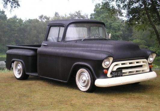 Stock Flat Black 1957 Chevy Pickup 57 Chevy Trucks Vintage Pickup Trucks Chevy Pickups