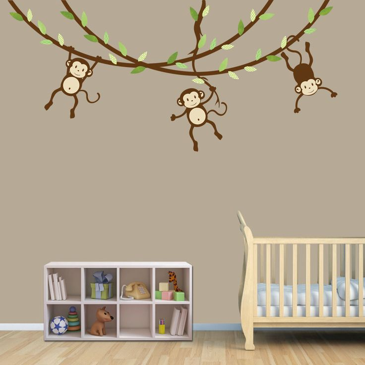 hanging monkey wall decal monkey vines monkey decal