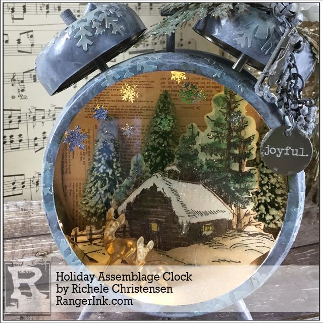 Holiday Assemblage Clock by Richele Christensen | www.rangerink.com