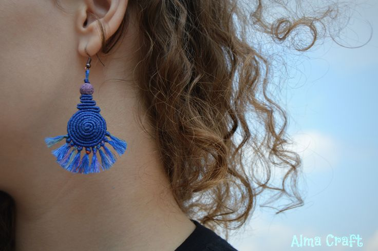Deep Blue Waters Spiral Macrame Earring
