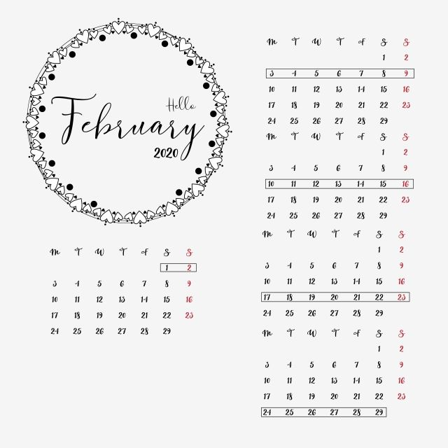 February 2020 Calendar Planner Design Clipart Vector Png Element Cute New Year 2020 Calendar Png And Vector With Transparent Background For Free Download Planner Design Clip Art Calendar Vector
