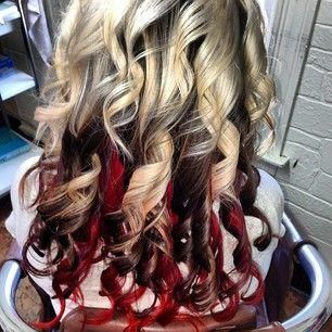 Red and black and blonde hair color ideas 2017