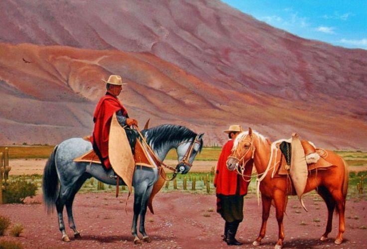 Arte Realista en Pinturas de Caballos. Cuadros de Caballos Pintados en Óleo Sobre Lienzo. Caballos con Figura Humana. Pintor Ricardo Raúl Bossie.