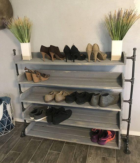 industrial pipe shoe rack shoe organizer entryway shoe rack rustic wood shoe rack shoe holder shoe shelf shoe racks shoe shelves industrial by