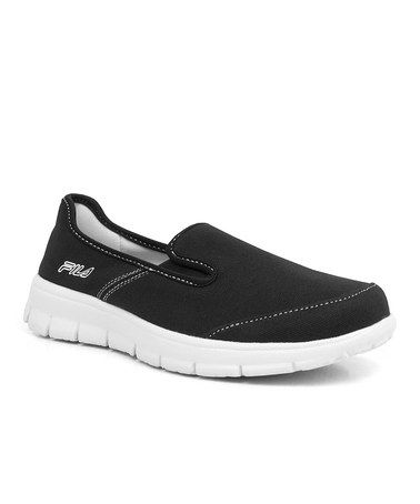 Another great find on #zulily! Black & White Amazen Memory Slip-On Sneaker - Women by FILA #zulilyfinds