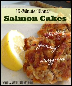 Can't get healthier (or easier) than these 15-minute salmon cakes! AND they're gluten-free, egg-free, and dairy-free! And taste amazing!