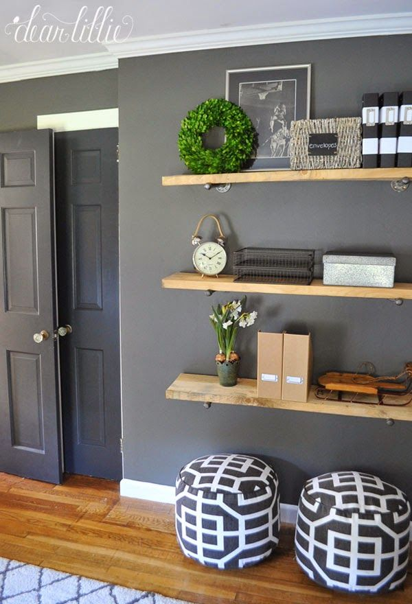 shelving for kitchen stuff? / way to store beanbags? A Few Simple Touches  Christmas in Jason's Kitchen, Dining Room and Home Office by Dear Lillie