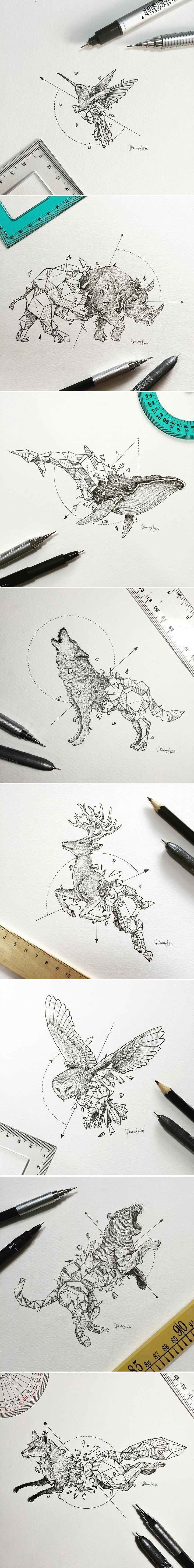 Manila-based illustrator Kerby Rosanes known as Sketchy Stories has created a new series of sketches combing animals with geometric forms. #ILoveTattoos!