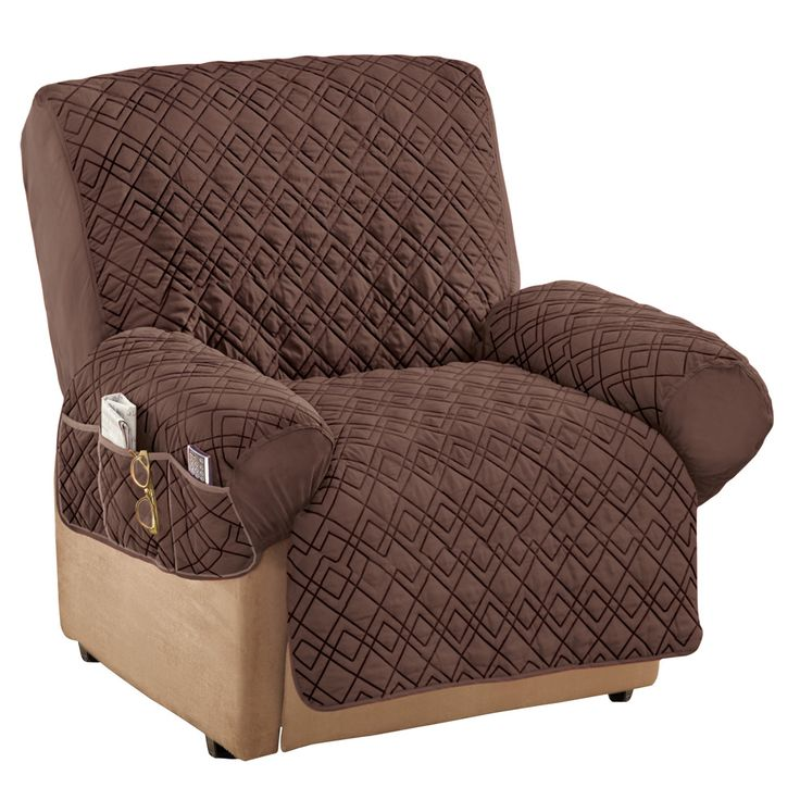 Collections Etc Diamond-Shape Quilted Stretch Recliner Cover with Storage Pockets - Furniture Protector, Chocolate, Recliner - Walmart.com