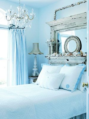 Mirrored vintage headboard chandy draperyDreams Bedrooms, Guest Room, Mirrors, Headboards, Shabby Chic, Head Boards, Blue Bedrooms, Mantles, Bedrooms Ideas