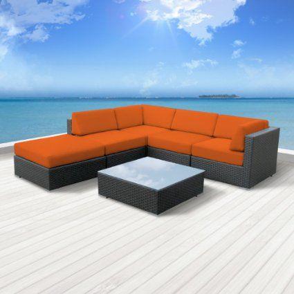 Amazon.com: Luxxella Outdoor Patio Wicker BERUNI Orange Sofa Sectional Furniture 6pc All Weather Couch Set: Patio, Lawn & Garden