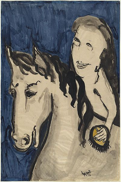Joy HESTER Elsternwick, Victoria, Australia 1920 – Melbourne, Victoria, Australia 1960 not titled (Girl and horse)1956, brush and ink, colour washsheet 76.2 h x 50.6 w cm Gift of Mrs Robert Dulieu, 1981.Accession No: NGA 81.1935© Joy Hester. Licensed by Viscopy