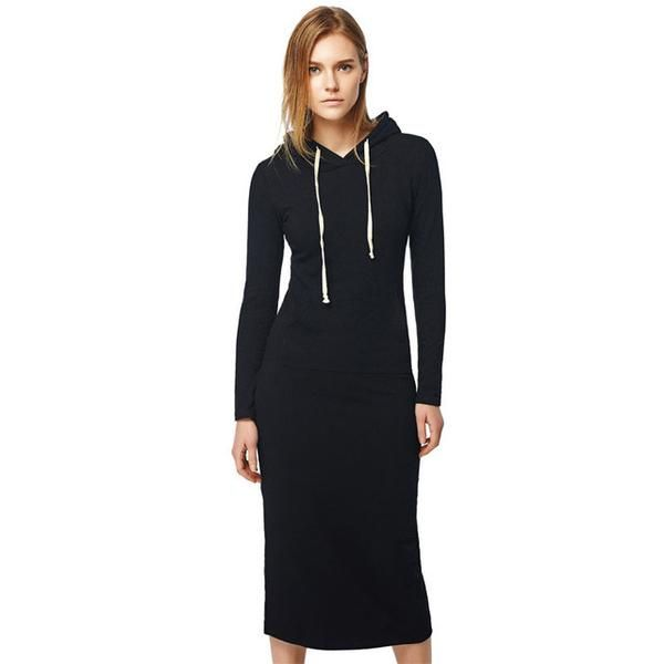 Trendy Casual Long Stylish Hooded Ladies Dress