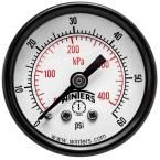 PEM Series 1.5 in. Black Steel Case Brass Internals Pressure Gauge with 1/8 in. NPT CBM and Range of 0-60 psi/kPa