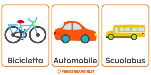 Carte tematiche per bambini dedicate ai mezzi di trasporto da stampare gratis