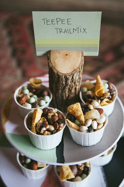 teepee trailmix. Woodland baby shower