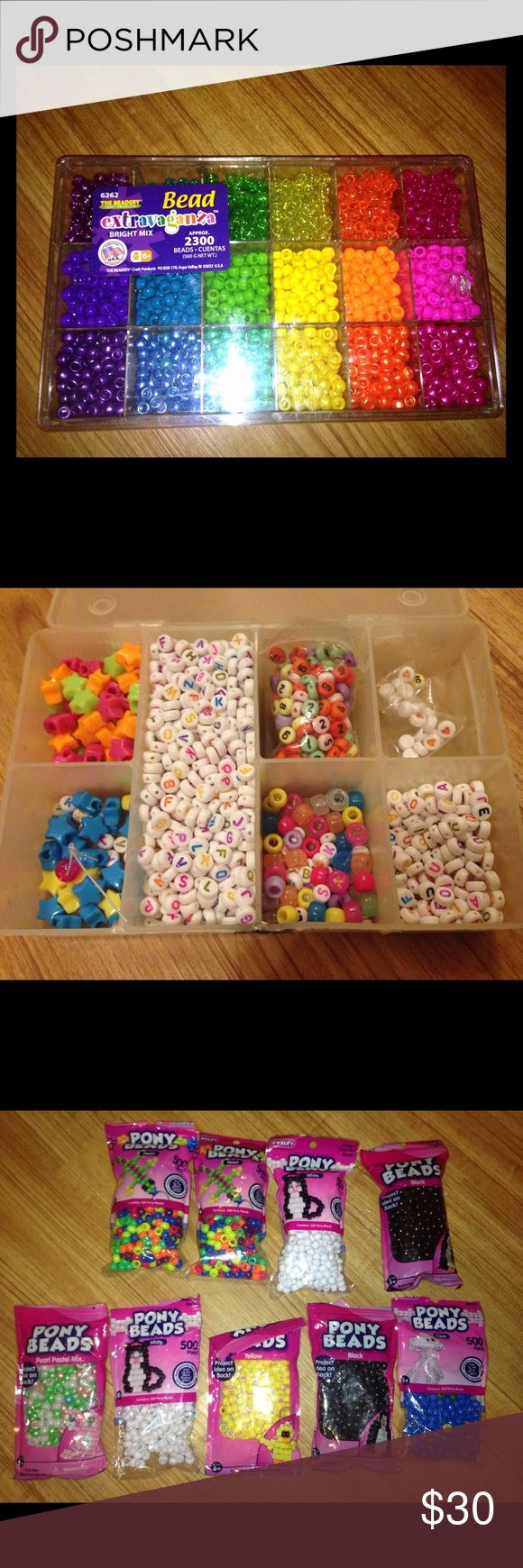 💋BUNDLE OF THOUSANDS OF KANDI PONY BEADS-see pics PRICE IS HIGH BC ADDITIONAL SHIPPING FEES FOR WEIGHT! Thousands of Pony Beads- all varieties: bright, neon, glitter, clear, glow in dark, letter, all colors, etc. Perfect for kids or for those who would love accessories for raves and edm events. This large collection took awhile to build, I organized them in boxes that you see. Don't need anymore, these would love to go to a new owner and be used! 😸 Listing and price is for everything in…
